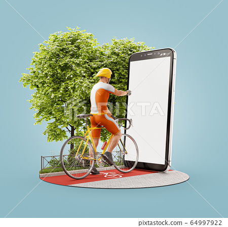 Unusual 3d illustration of a Professional cyclist 64997922