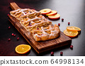 Delicious fresh pie baked with apple and pears 64998134