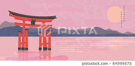 Oriental Japanese style abstract pattern background design travel nature landscape view of mountain lake and traditional Japanese gate Torii 64999878