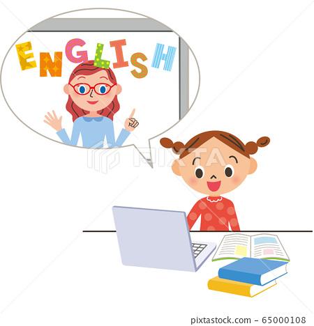 온라인으로 영어를 공부하는 아이 65000108