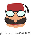 Turkish man in sunglasses icon in flat style 65004072