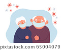 Coronavirus and senior people. Old couple in 65004079