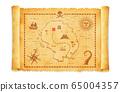 낡은 폭행 해적의 보물 (보물 / 보물)의지도 일러스트 65004357