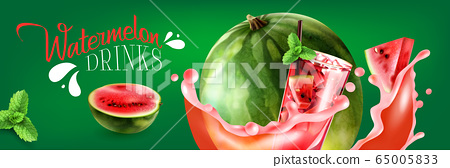 Watermelon Drinks Horizontal Poster 65005833