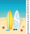 two surfboards and sunglasses on the beach 65005910