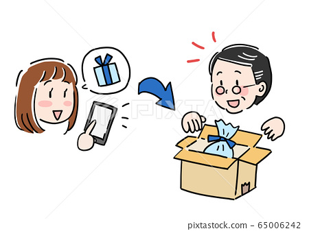 Girl buying presents online shopping on Father's Day 65006242