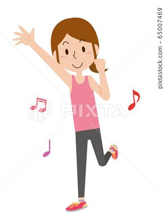 舞蹈有氧健身女人 65007469