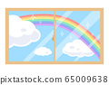 Illustration of a rainbow and clouds over the window 65009638