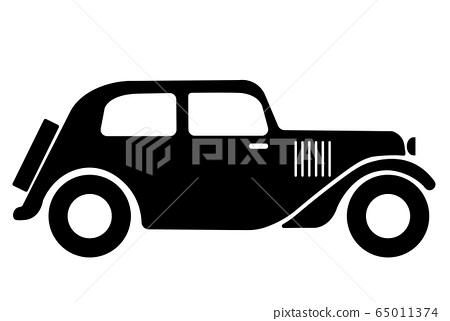 vintage car symbol, classic vintage car icon 65011374