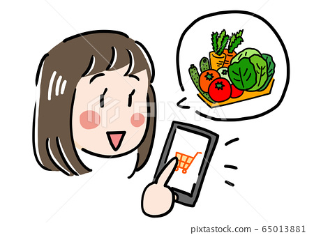 Girl online shopping on smartphone and buying vegetables 65013881