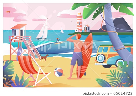 Young surfer waiting the waves on beach with sun light in background.Flat vector illustration 65014722