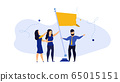Business work target with flag person vector 65015151