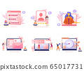 Cartoon icon set with email marketing business flat for concept design with characters 65017731