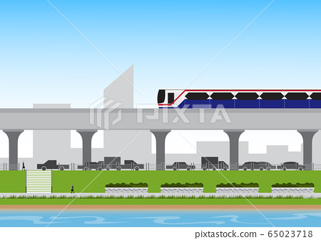 Electric train(BTS) with businessman walking 65023718