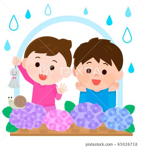 雨季繡球花窗口兒童插畫 65026718