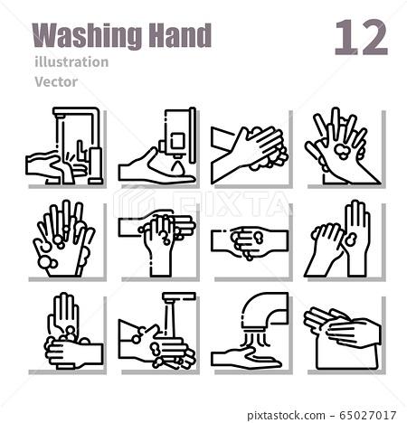 washing hand icons set outline set 2 65027017