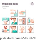 washing hand icons set flat set 2 65027020