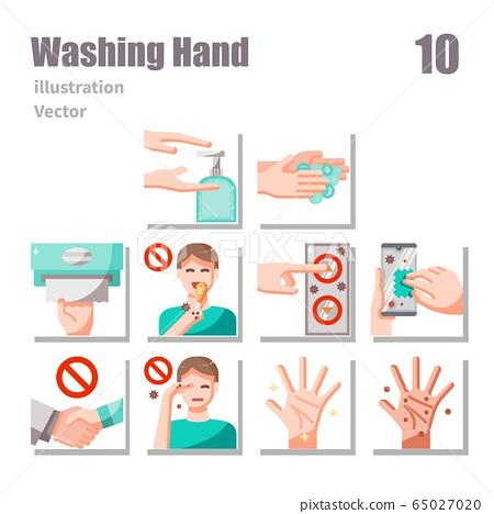 washing hand icons set flat set 2 65027020