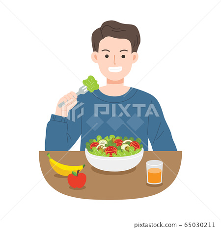 Young men eating salads. Diet food for life. Healthy foods with benefits.  65030211