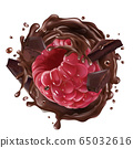 Raspberry with pieces and splashes of chocolate. 65032616