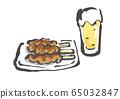 맥주와 닭 꼬치, 닭 꼬치, 꼬치, 야키 트리, 벡터, 일러스트, 음료, 맥주, 생 생맥주 65032847