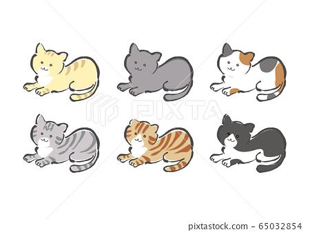 貓,貓,貓,品種,不同的品種,不同的顏色,設置,設置,虎斑貓,虎斑貓,俄羅斯藍,印花布貓, 65032854
