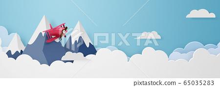 종이 공예 - 하늘 - 구름 - 산 - 비행기 65035283