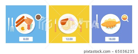 Set of serving food and drink dinner, lunch and breakfast top view vector flat illustration 65036235