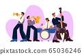 Cartoon jazz band play music on saxophone, trumpet, drum and bass guitar vector flat illustration 65036246