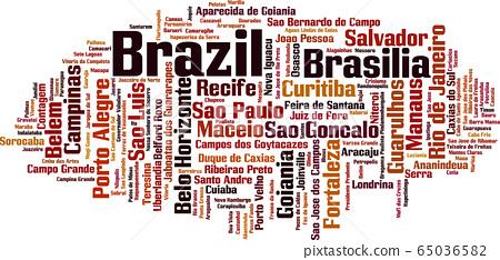 Cities in Brazil word cloud 65036582