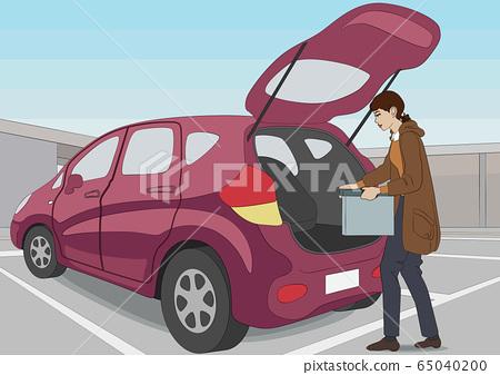차에 짐을 쌓는 여성 65040200
