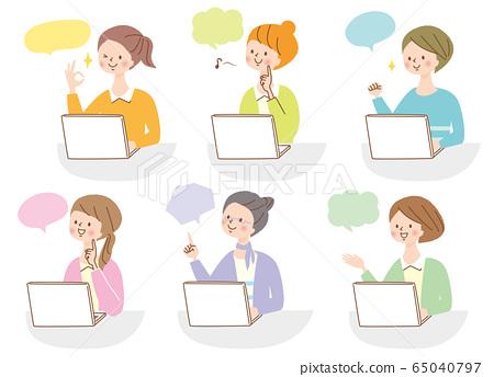 컴퓨터 미소 젊은 여자 표정 인물 세트 65040797