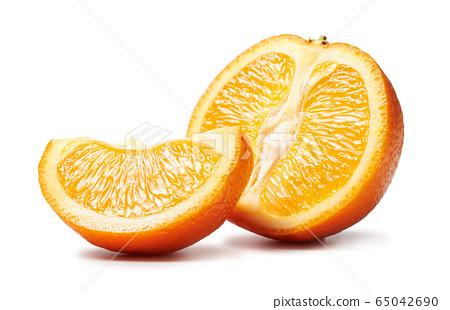 Fresh cut orange fruits macro photo isolated on 65042690