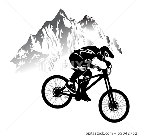 Silhouette of a cyclist riding a mountain bike 65042752