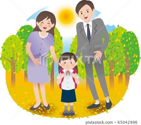 父母和女孩秋天 65042996