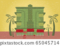 Miami beach house, hotel with valet parking on Ocean Drive in Florida, USA. Handmade drawing vector stock illustration hotel, palms, trolley, umbrella. Art deco style. EPS10 65045714