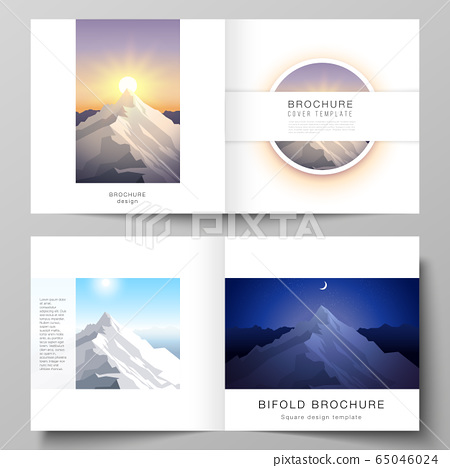 Vector illustration layout of two covers templates for square design bifold brochure, magazine, flyer, booklet. Mountain illustration, outdoor adventure. Travel concept background. Flat design vector. 65046024