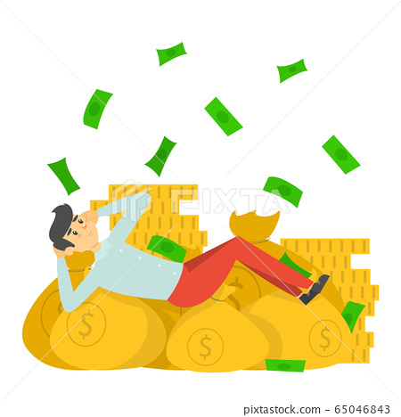 Happy rich man lying on the money bags 65046843