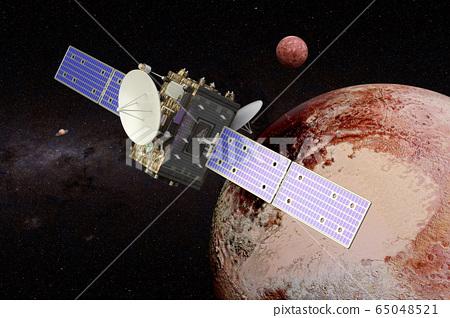 Space probe orbiting Pluto, 3D rendering 65048521