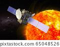 Solar probe orbiting Sun, 3D rendering 65048526