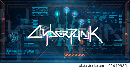 Futuristic cyberpunk with elements HUD, GUI, UI 65049986