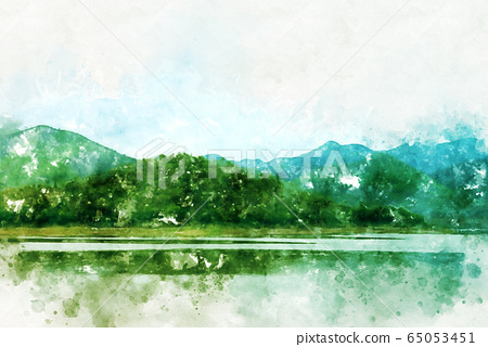 Abstract green colorful mountain range and river in Thailand on watercolor illustration painting background. 65053451