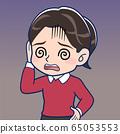 小学女孩穿着红色的衣服 65053553