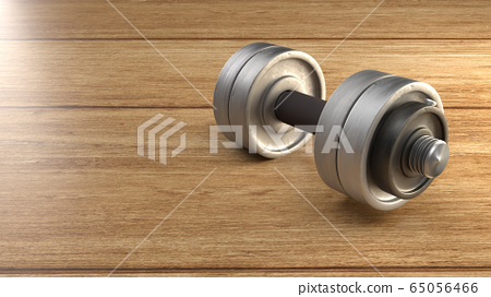 The dumbbell  wood floor 3d rendering for fitnesses content. 65056466