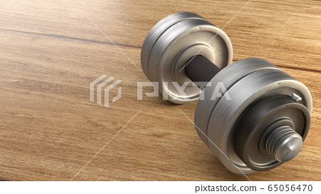 The dumbbell  wood floor 3d rendering for fitnesses content. 65056470
