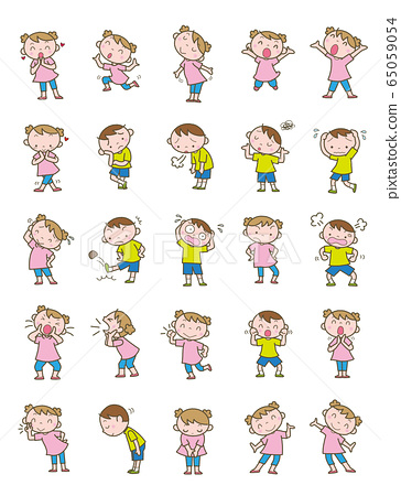 Whole body illustration_elementary expression 65059054