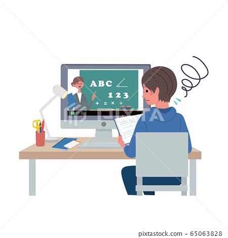 Online class PC class illustration Boy troubles 65063828