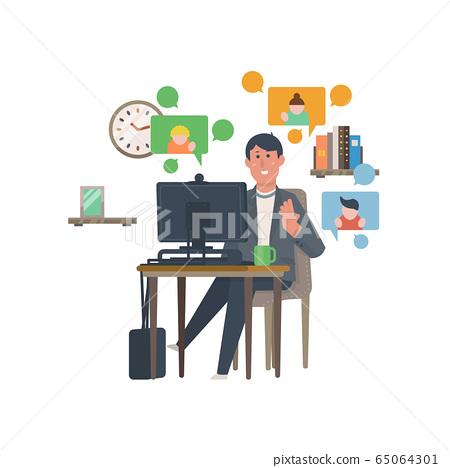영상 통화하는 남성 [재택 근무 · 재택 근무 원격 워크 · 회의 · 교육] 일러스트 65064301