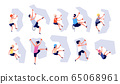 Sport climbing. Kids adults climb wall. Accomplishment top, risk adventure. Isolated strong climbers with equipment, extreme girl vector set 65068961
