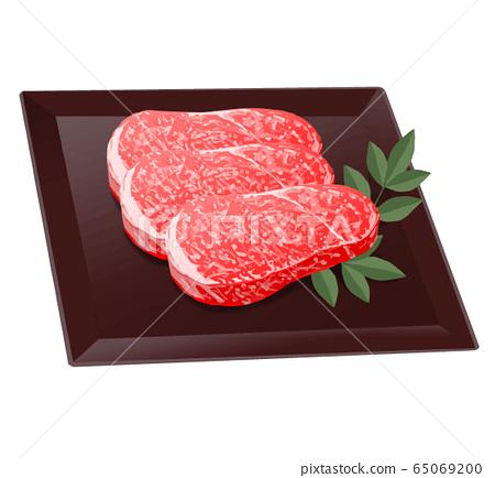 大理石的肉。牛肉,豬肉圖 65069200
